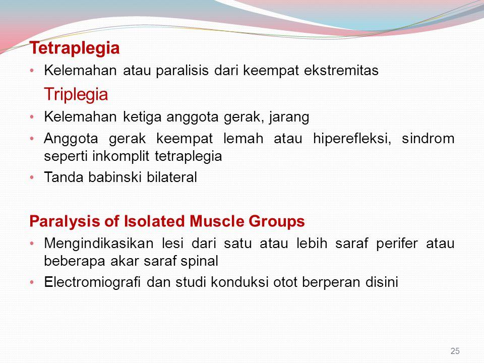 Tetraplegia Kelemahan atau paralisis dari keempat ekstremitas Triplegia Kelemahan ketiga anggota gerak, jarang Anggota gerak keempat lemah atau hipere