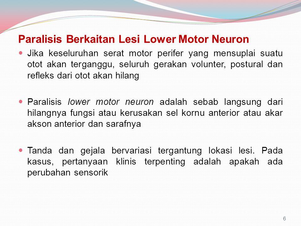 Paralisis Berkaitan Lesi Lower Motor Neuron Jika keseluruhan serat motor perifer yang mensuplai suatu otot akan terganggu, seluruh gerakan volunter, p
