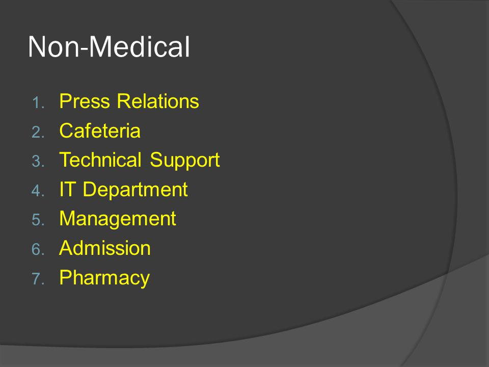 Non-Medical 1. Press Relations 2. Cafeteria 3. Technical Support 4. IT Department 5. Management 6. Admission 7. Pharmacy