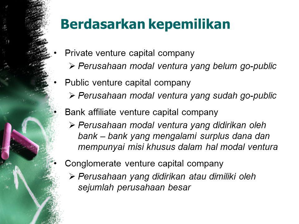Berdasarkan kepemilikan Private venture capital company  Perusahaan modal ventura yang belum go-public Public venture capital company  Perusahaan mo