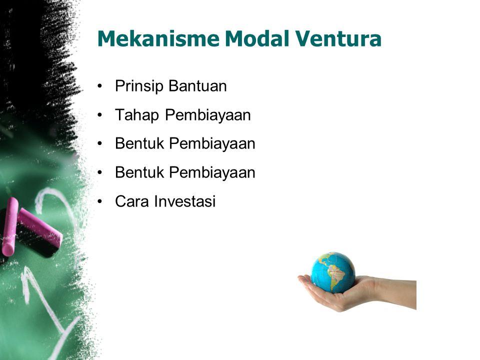 Mekanisme Modal Ventura Prinsip Bantuan Tahap Pembiayaan Bentuk Pembiayaan Cara Investasi