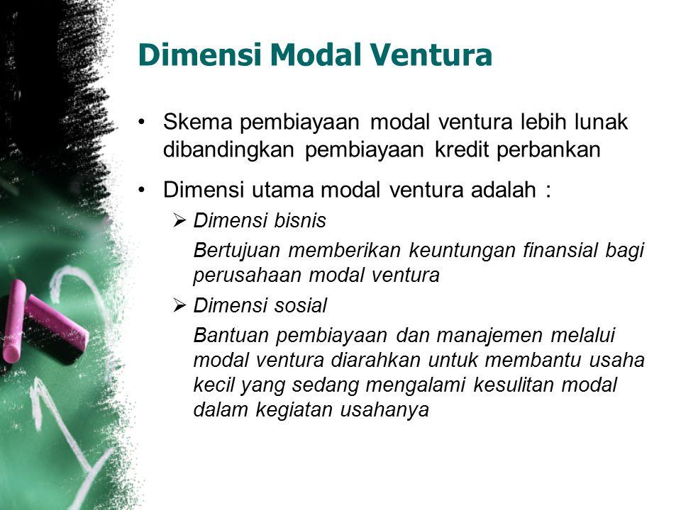 Dimensi Modal Ventura Skema pembiayaan modal ventura lebih lunak dibandingkan pembiayaan kredit perbankan Dimensi utama modal ventura adalah :  Dimen