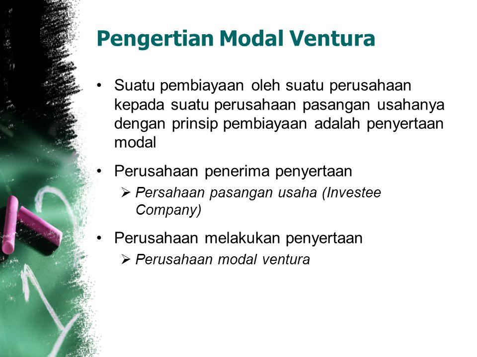 Pengertian Modal Ventura Suatu pembiayaan oleh suatu perusahaan kepada suatu perusahaan pasangan usahanya dengan prinsip pembiayaan adalah penyertaan