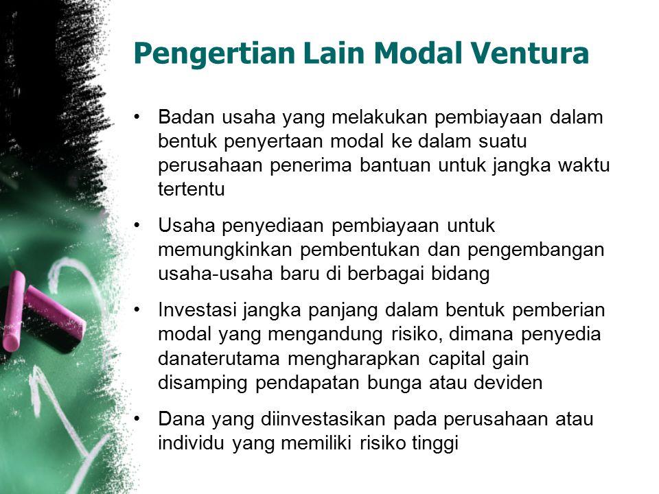 Pengertian Lain Modal Ventura Badan usaha yang melakukan pembiayaan dalam bentuk penyertaan modal ke dalam suatu perusahaan penerima bantuan untuk jan