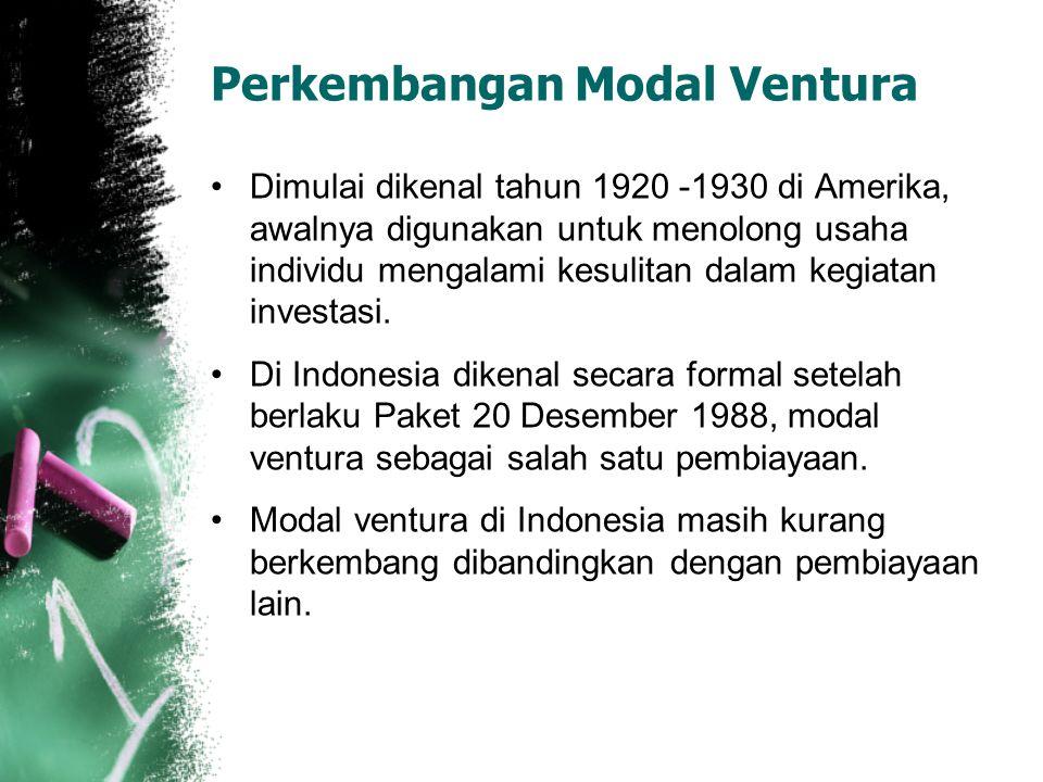 Perkembangan Modal Ventura Dimulai dikenal tahun 1920 -1930 di Amerika, awalnya digunakan untuk menolong usaha individu mengalami kesulitan dalam kegi