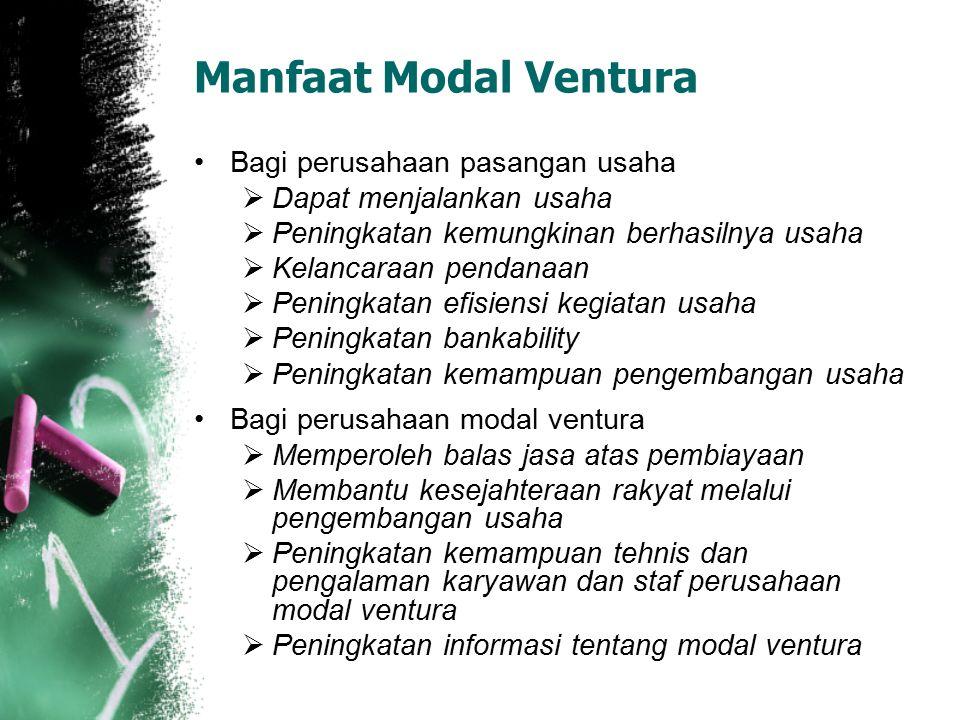 Manfaat Modal Ventura Bagi perusahaan pasangan usaha  Dapat menjalankan usaha  Peningkatan kemungkinan berhasilnya usaha  Kelancaraan pendanaan  P