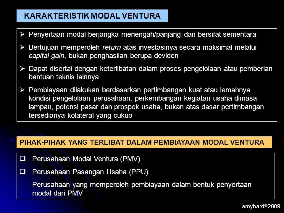 amyhard Ⓡ 2009 KARAKTERISTIK MODAL VENTURA  Penyertaan modal berjangka menengah/panjang dan bersifat sementara  Bertujuan memperoleh return atas inv