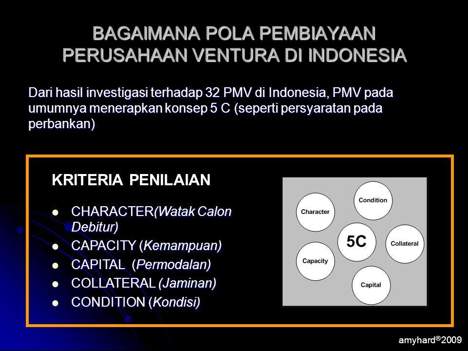 amyhard Ⓡ 2009 BAGAIMANA POLA PEMBIAYAAN PERUSAHAAN VENTURA DI INDONESIA Dari hasil investigasi terhadap 32 PMV di Indonesia, PMV pada umumnya menerap