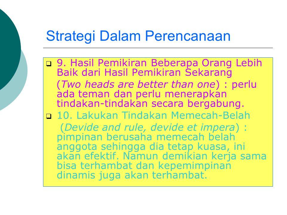 Strategi Dalam Perencanaan  7. Waktu Merupakan Alat Penyembuh yang Mujarab (Time is great healer) : dengan berlangsungnya waktu banyak tindakan-tinda
