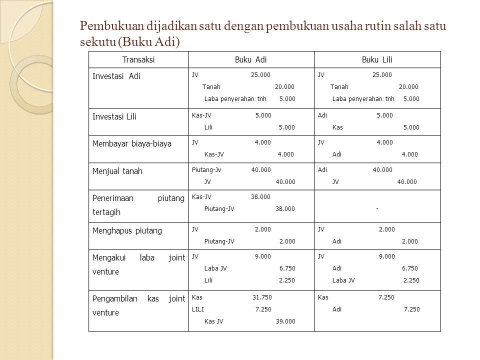 Pembukuan dijadikan satu dengan pembukuan usaha rutin salah satu sekutu (Buku Adi) TransaksiBuku AdiBuku Lili Investasi Adi JV 25.000 Tanah 20.000 Lab
