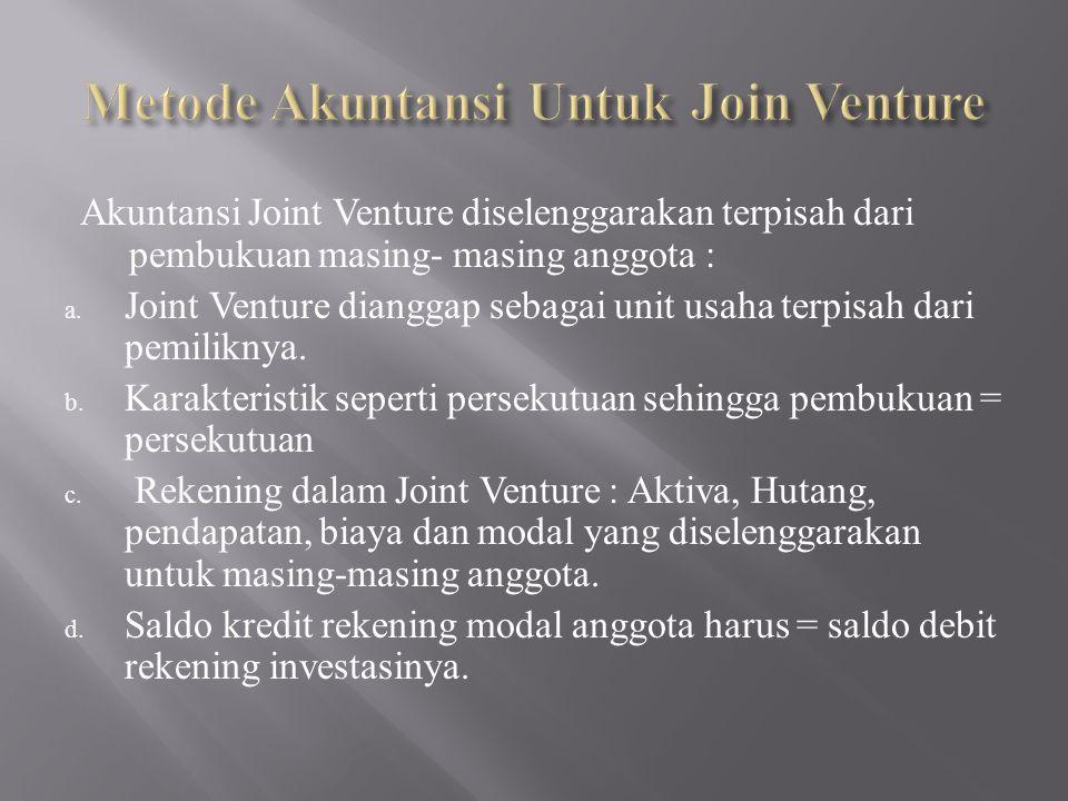 Aktivitas Joint Venture Tidak Diselenggarakan Terpisah: a.
