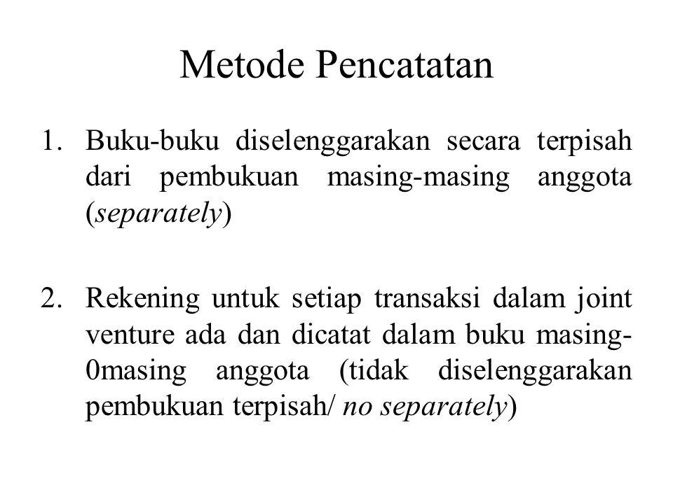 Metode Pencatatan 1.Buku-buku diselenggarakan secara terpisah dari pembukuan masing-masing anggota (separately) 2.Rekening untuk setiap transaksi dala