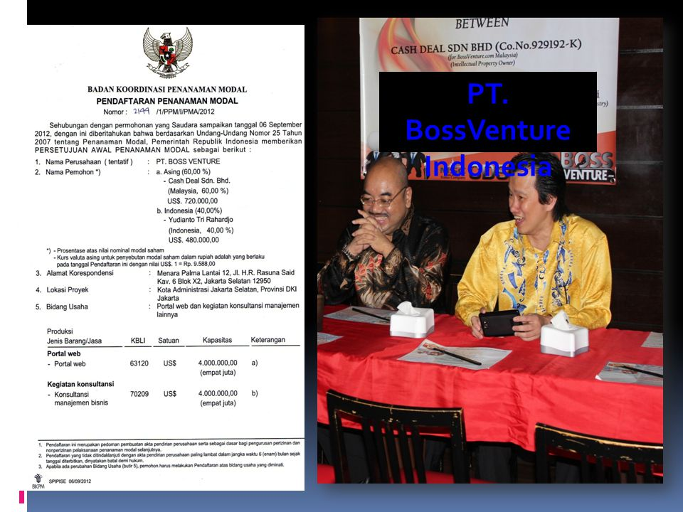 www.BossVenture.com International Hubs P.T. BossVenture (Indonesia) Registered correspondence address: Menara Palma Lantai 12, JL. H.R. Rasuna Said. K