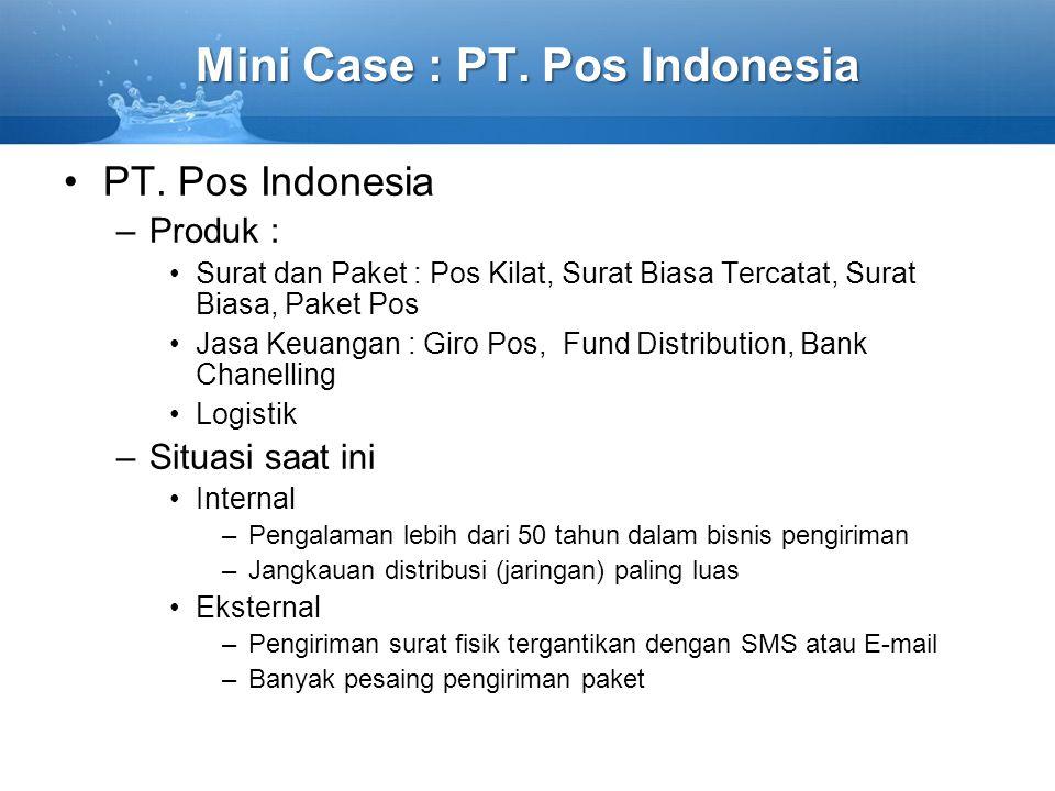 Mini Case : PT. Pos Indonesia PT. Pos Indonesia –Produk : Surat dan Paket : Pos Kilat, Surat Biasa Tercatat, Surat Biasa, Paket Pos Jasa Keuangan : Gi