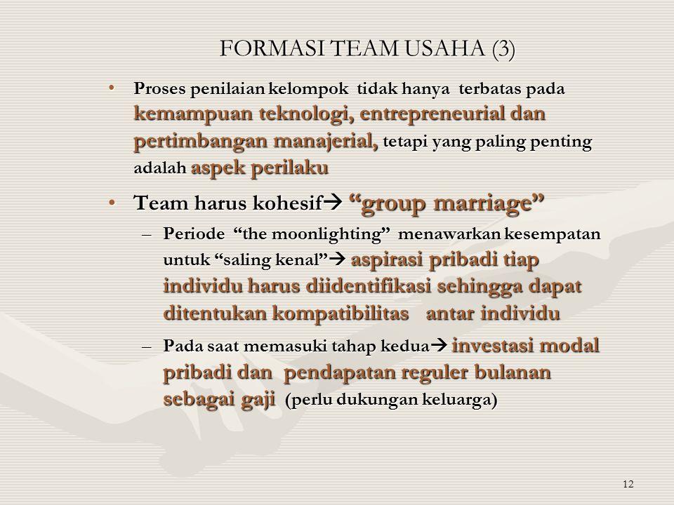 12 FORMASI TEAM USAHA (3) Proses penilaian kelompok tidak hanya terbatas pada kemampuan teknologi, entrepreneurial dan pertimbangan manajerial, tetapi