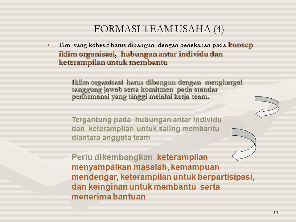 13 FORMASI TEAM USAHA (4) Tim yang kohesif harus dibangun dengan penekanan pada konsep iklim organisasi, hubungan antar individu dan keterampilan untu