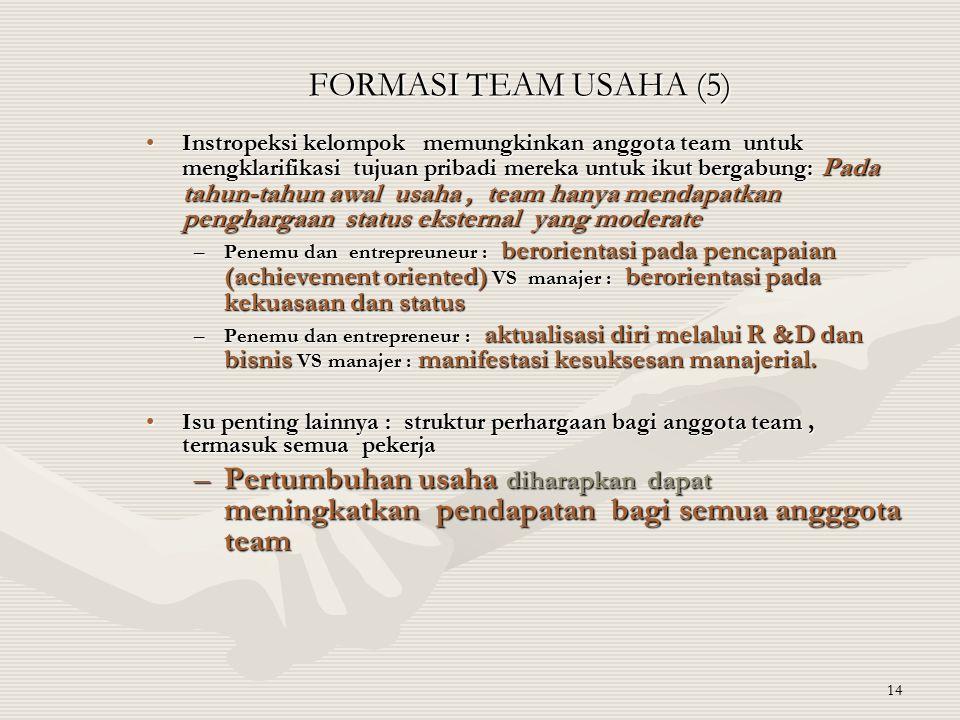 14 FORMASI TEAM USAHA (5) Instropeksi kelompok memungkinkan anggota team untuk mengklarifikasi tujuan pribadi mereka untuk ikut bergabung: Pada tahun-