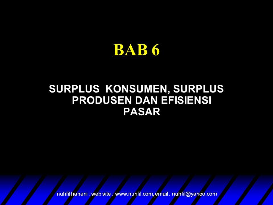 nuhfil hanani : web site : www.nuhfil.com, email : nuhfil@yahoo.com Overview  Welfare Economics  Consumer Surplus  Producer Surplus  Market Efficiency