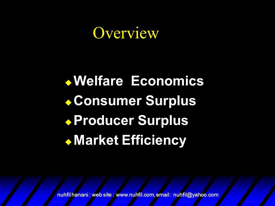 nuhfil hanani : web site : www.nuhfil.com, email : nuhfil@yahoo.com Overview  Welfare Economics  Consumer Surplus  Producer Surplus  Market Effici
