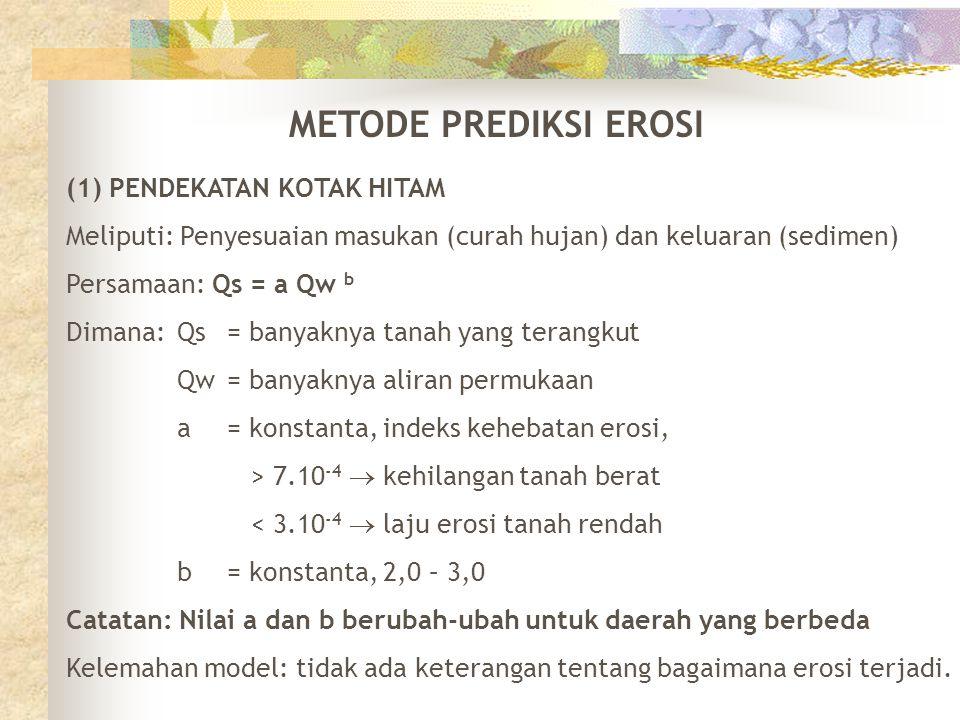 METODE PREDIKSI EROSI (1) PENDEKATAN KOTAK HITAM Meliputi: Penyesuaian masukan (curah hujan) dan keluaran (sedimen) Persamaan: Qs = a Qw b Dimana: Qs