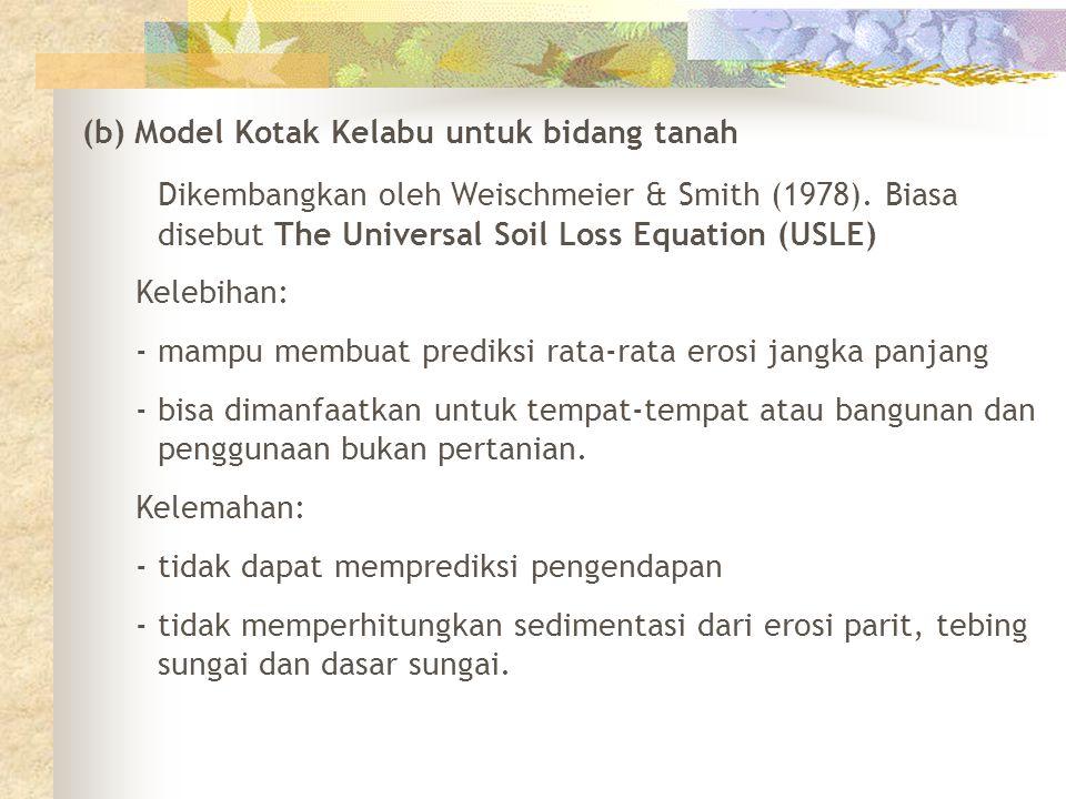 (b) Model Kotak Kelabu untuk bidang tanah Dikembangkan oleh Weischmeier & Smith (1978). Biasa disebut The Universal Soil Loss Equation (USLE) Kelebiha