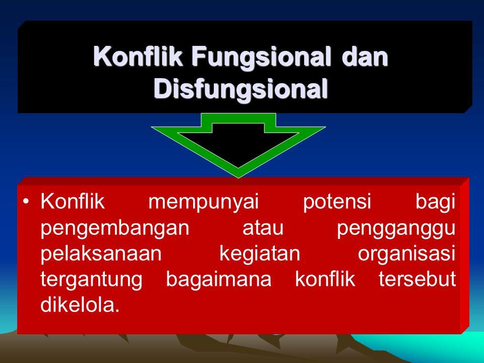 Konflik mempunyai potensi bagi pengembangan atau pengganggu pelaksanaan kegiatan organisasi tergantung bagaimana konflik tersebut dikelola. Konflik Fu