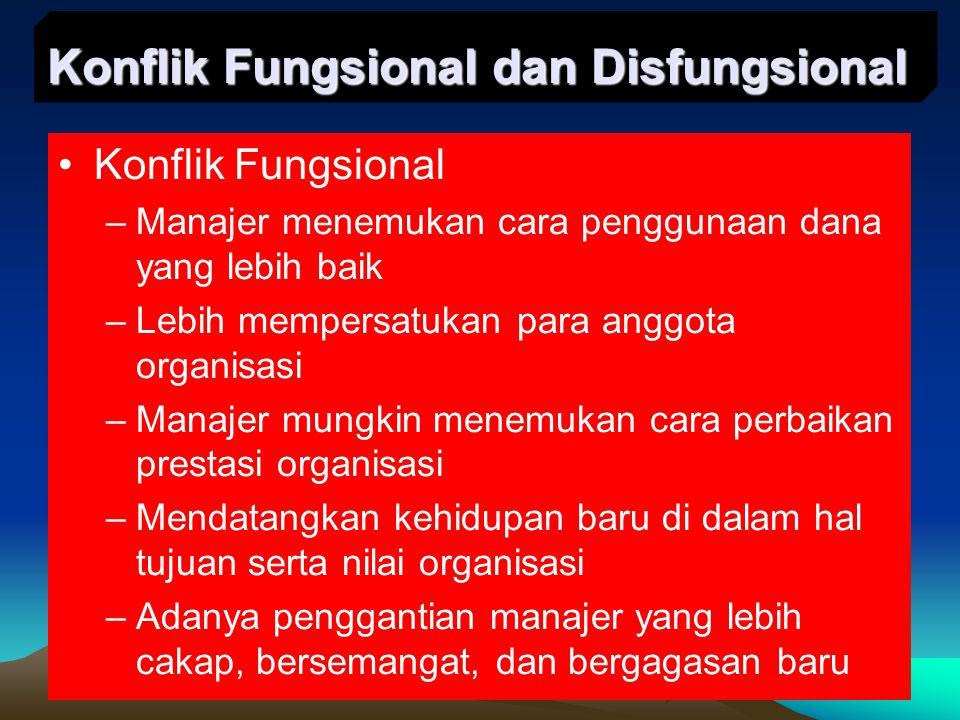 Konflik Fungsional –Manajer menemukan cara penggunaan dana yang lebih baik –Lebih mempersatukan para anggota organisasi –Manajer mungkin menemukan car