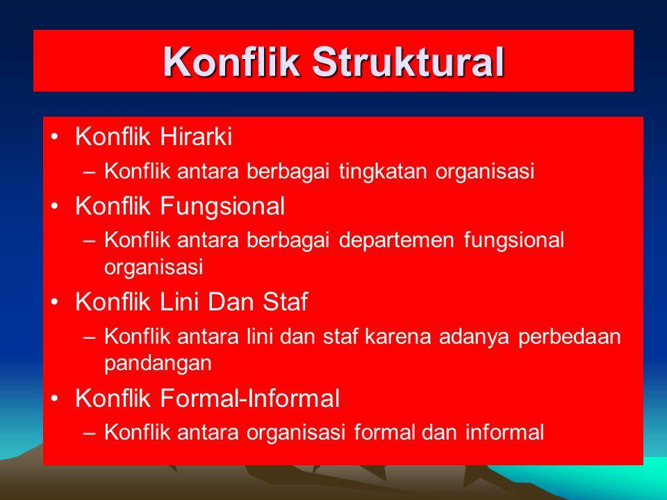 Konflik Struktural Konflik Hirarki –Konflik antara berbagai tingkatan organisasi Konflik Fungsional –Konflik antara berbagai departemen fungsional org