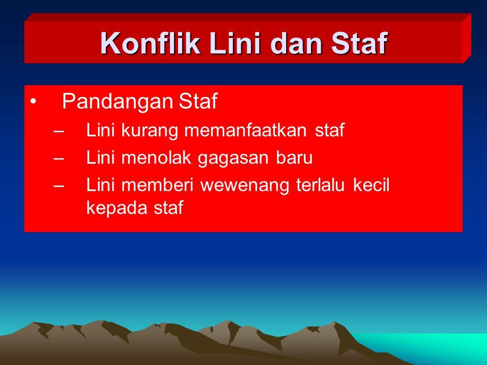 Pandangan Staf –Lini kurang memanfaatkan staf –Lini menolak gagasan baru –Lini memberi wewenang terlalu kecil kepada staf Konflik Lini dan Staf