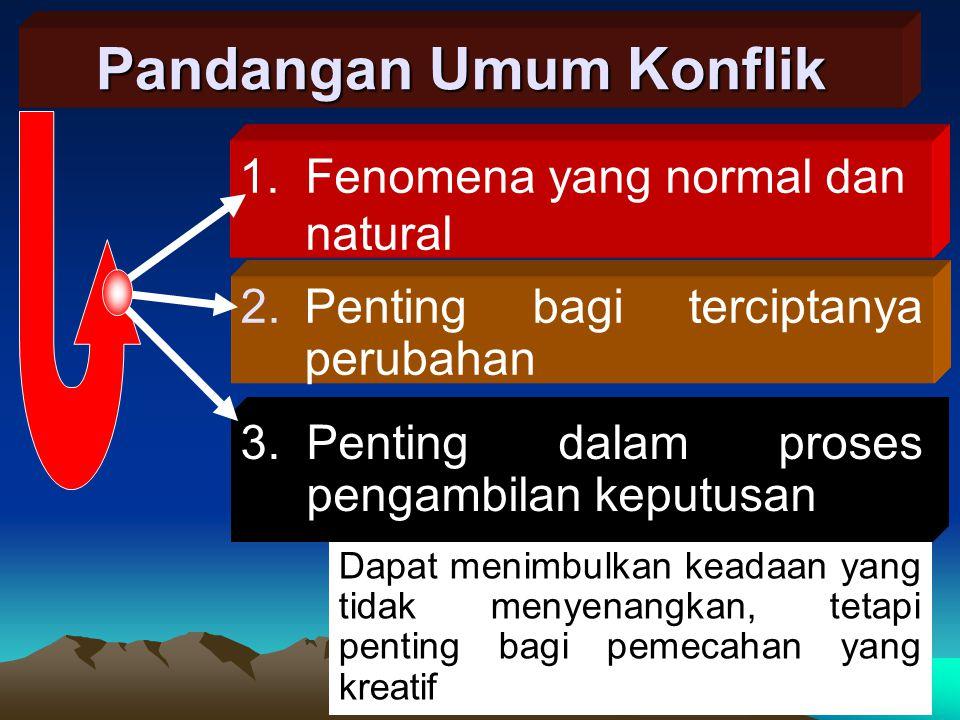 1. Fenomena yang normal dan natural Pandangan Umum Konflik 2.Penting bagi terciptanya perubahan 3.Penting dalam proses pengambilan keputusan Dapat men