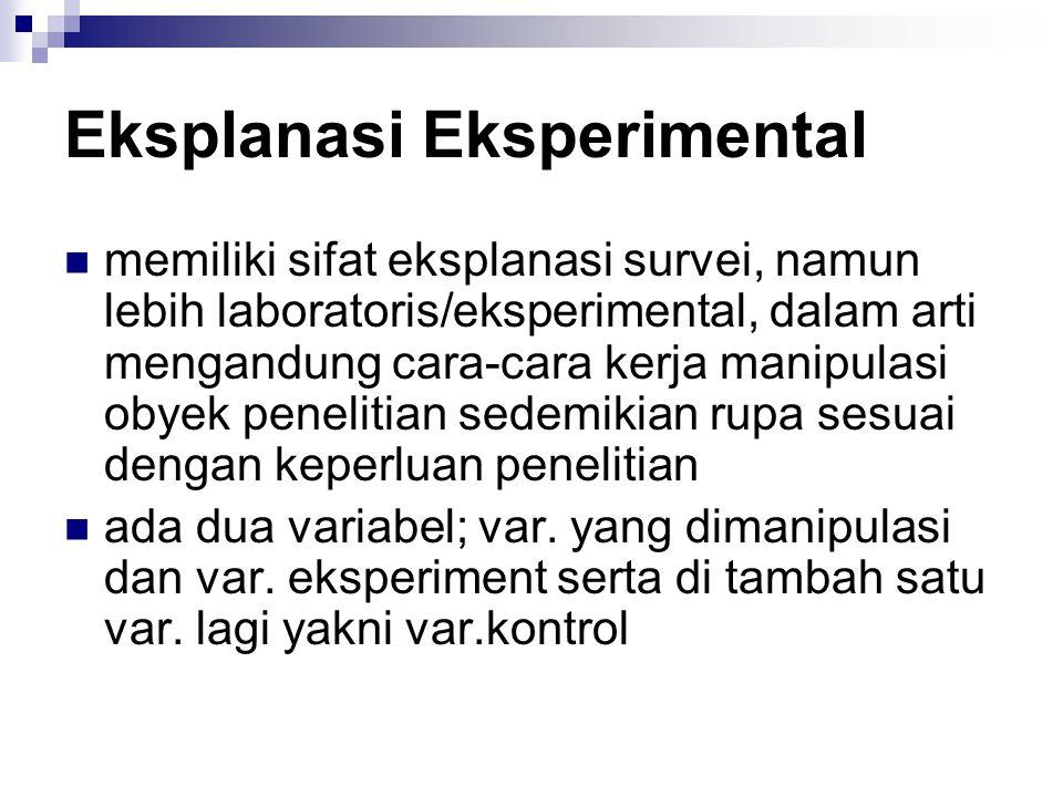 Eksplanasi Eksperimental memiliki sifat eksplanasi survei, namun lebih laboratoris/eksperimental, dalam arti mengandung cara-cara kerja manipulasi obyek penelitian sedemikian rupa sesuai dengan keperluan penelitian ada dua variabel; var.