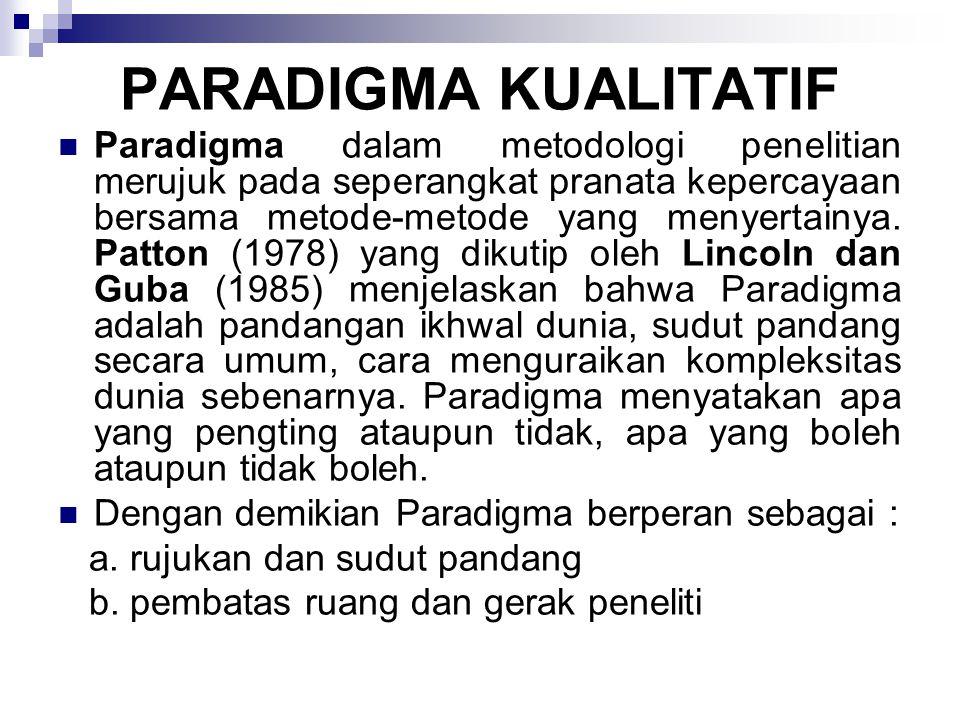 Paradigma kualitatif yang dirinci oleh Lincoln dan Guba (1985, 39-43) meliputi asas-asas berikut ini: Natural setting (latar tempat dan waktu penelitian yang alamiah) Human as primary data ghatering instrument (manusia atau peneliti sendiri sebagai instrument pengumpul data primer) Use of tacit knowledge (penggunaan pengetahuan yang tidak eksplisit) Qualitative methodes (metode kualitatif) Purposive sampling (pemilihan sampel penelitian secara purposive) Inductive data analysis (analisis data secara induktif/bottom up) Grounded theory (teori dari dasar yang dilandaskan pada data secara terus-menerus)