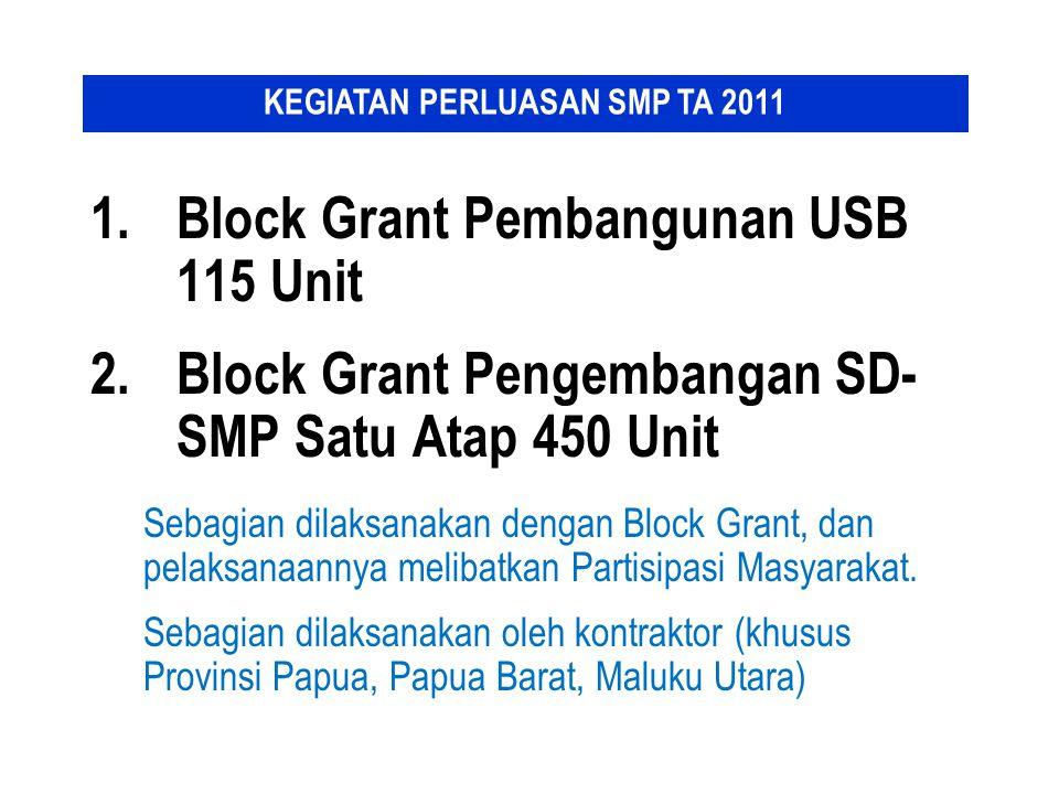 1.Block Grant Pembangunan USB 115 Unit 2.Block Grant Pengembangan SD- SMP Satu Atap 450 Unit Sebagian dilaksanakan dengan Block Grant, dan pelaksanaan