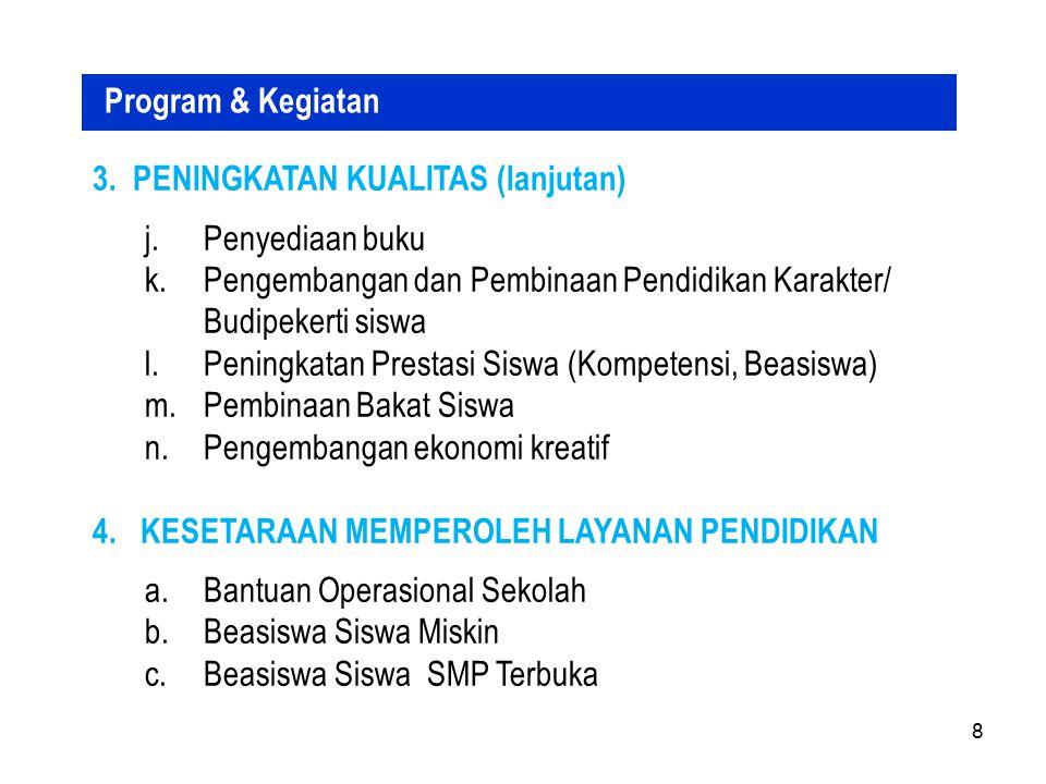 ALOKASI (hingga 2014) No Propinsi Populasi 13-15 th Jumlah Siswa APK (%) Populasi belum Sekolah Tambahan Daya Tampung 08/09 Kekurangan Daya Tampung Kebutuhan USBSATAP RKB 12Banten 635.778 583.53191,7867.80822.08047.505149197667 13DKI Jakarta 399.327 459.137114,9816486416411- 14Jawa Tengah 1.708.087 1.691.89799,0549.93950.65624.52876102348 15DIY 145.746 166.231114,06-2.816---- 16Jawa Timur 1.803.707 1.852.167102,6940.52649.21627.77486116394 17Kalimantan Barat 275.057 220.85980,3057.78724.94436.487115152509 18 Kalimantan Tengah 116.594 100.00685,7720.2767.42816.6405270232 19 Kalimantan Selatan 216.746 187.59486,5531.9785.40427.54387115386 20Kalimantan Timur 194.611 182.78793,9216.8334.51213.6654356193 21Bali 172.102 178.857103,922.1258.000215112 22NTB 296.190 296.674100,1615.15715.5966.557212791