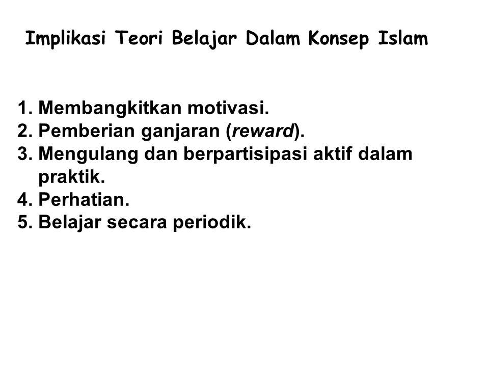Implikasi Teori Belajar Dalam Konsep Islam 1. Membangkitkan motivasi. 2. Pemberian ganjaran (reward). 3. Mengulang dan berpartisipasi aktif dalam prak