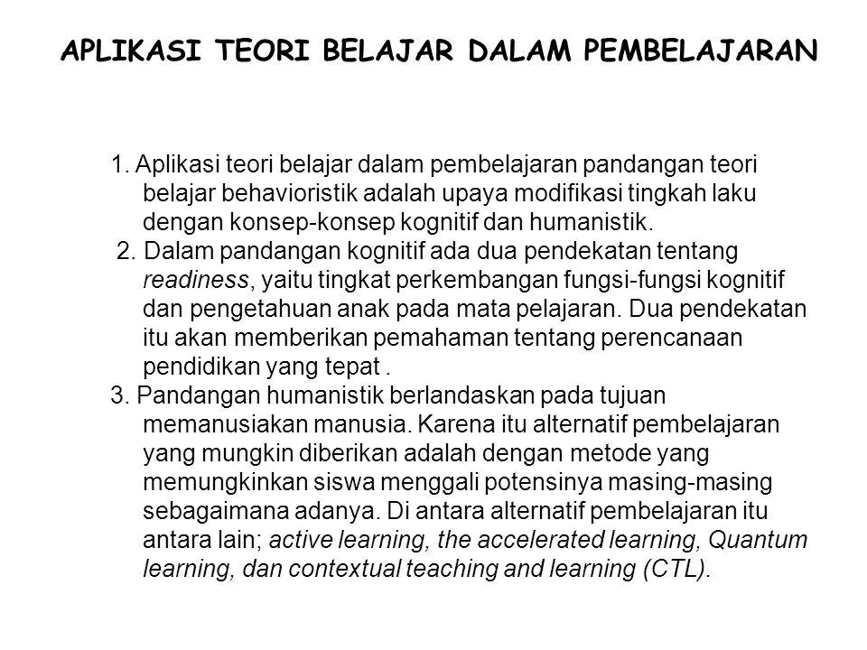 APLIKASI TEORI BELAJAR DALAM PEMBELAJARAN 1. Aplikasi teori belajar dalam pembelajaran pandangan teori belajar behavioristik adalah upaya modifikasi t