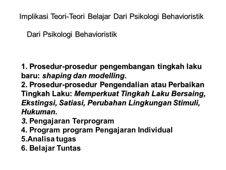Implikasi Teori-Teori Belajar Dari Psikologi Behavioristik 1. Prosedur-prosedur pengembangan tingkah laku baru: shaping dan modelling. 2. Prosedur-pro