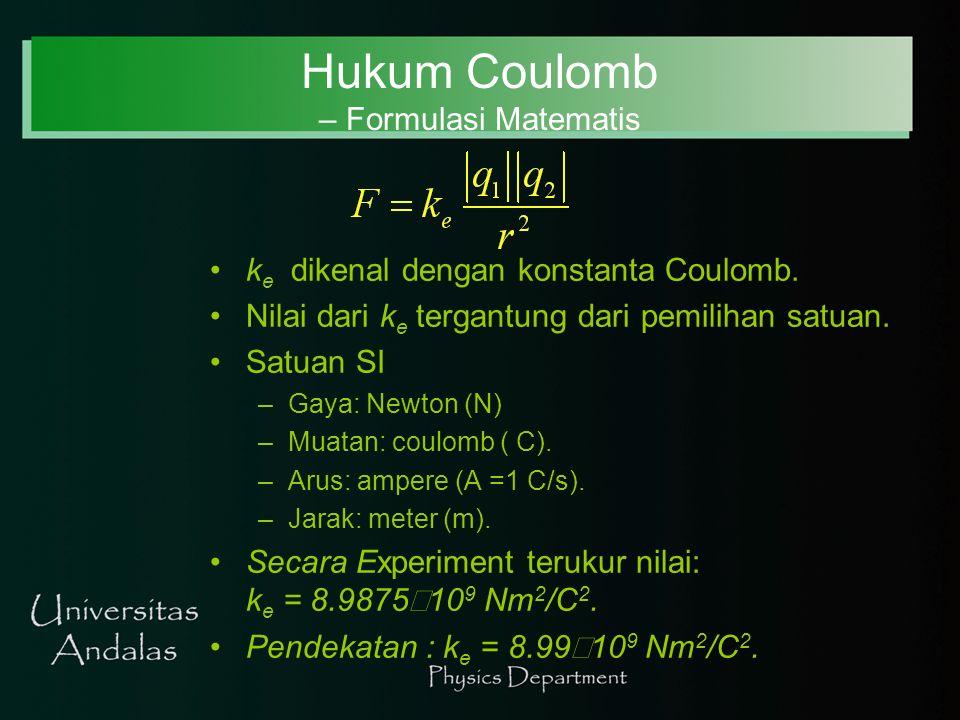 Hukum Coulomb – Formulasi Matematis k e dikenal dengan konstanta Coulomb. Nilai dari k e tergantung dari pemilihan satuan. Satuan SI –Gaya: Newton (N)