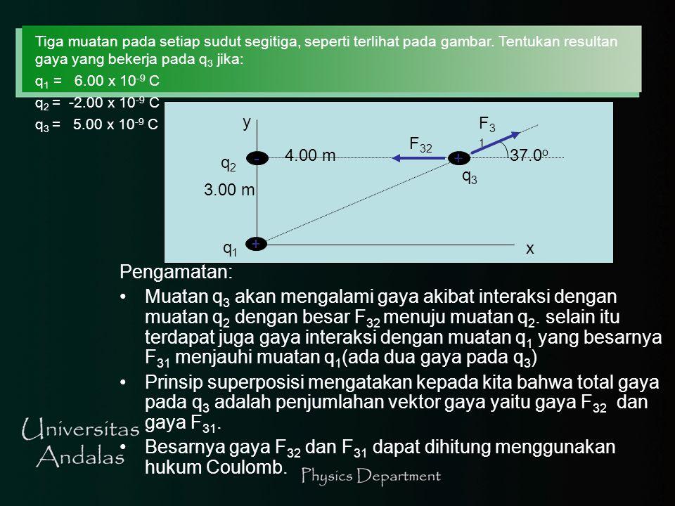 Untuk tiga titik muatan pada setiap sudut segitiga, seperti gambar dibawah, Tentukan gaya resultan pada muatan q 3.