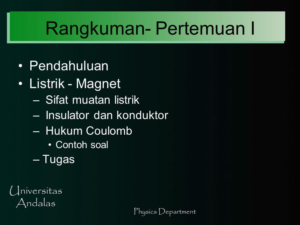 Rangkuman- Pertemuan I Pendahuluan Listrik - Magnet – Sifat muatan listrik – Insulator dan konduktor – Hukum Coulomb Contoh soal –Tugas