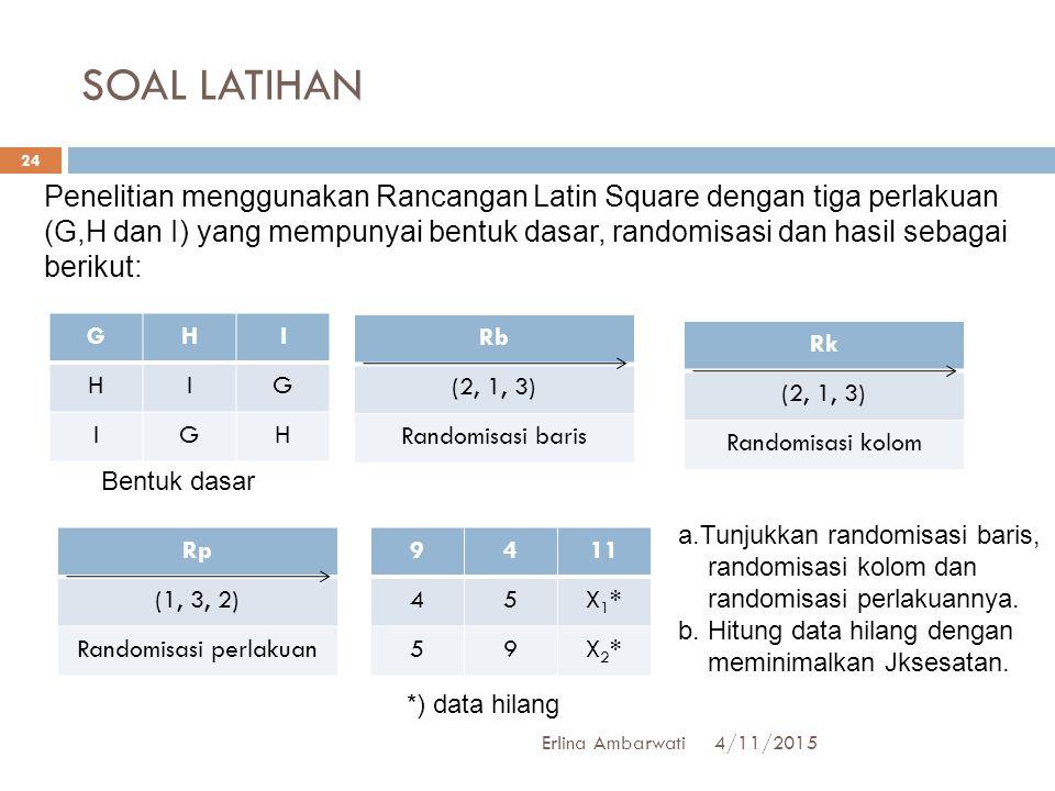 SOAL LATIHAN 4/11/2015Erlina Ambarwati 24 Penelitian menggunakan Rancangan Latin Square dengan tiga perlakuan (G,H dan I) yang mempunyai bentuk dasar,