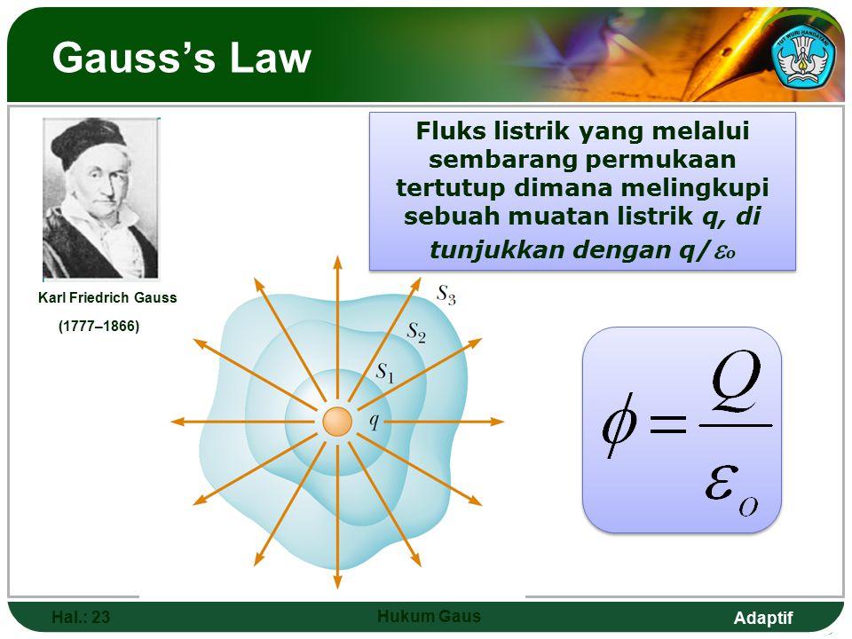 Adaptif Gauss's Law Hal.: 23 Hukum Gaus Karl Friedrich Gauss (1777–1866) Fluks listrik yang melalui sembarang permukaan tertutup dimana melingkupi sebuah muatan listrik q, di tunjukkan dengan q/  o