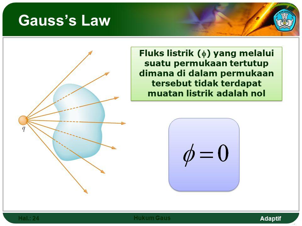 Adaptif Gauss's Law Hal.: 24 Hukum Gaus Fluks listrik () yang melalui suatu permukaan tertutup dimana di dalam permukaan tersebut tidak terdapat muatan listrik adalah nol