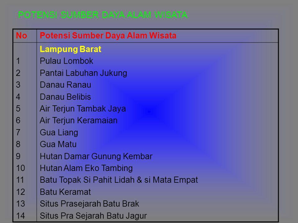 NoPotensi Sumber Daya Alam Wisata 1 2 3 4 5 6 7 8 9 10 11 12 13 14 Lampung Barat Pulau Lombok Pantai Labuhan Jukung Danau Ranau Danau Belibis Air Terj