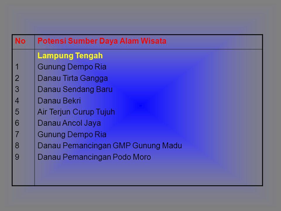 NoPotensi Sumber Daya Alam Wisata 123456789123456789 Lampung Tengah Gunung Dempo Ria Danau Tirta Gangga Danau Sendang Baru Danau Bekri Air Terjun Curu