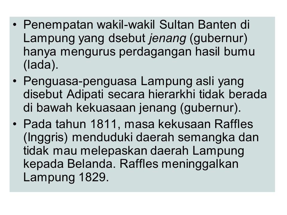 Penempatan wakil-wakil Sultan Banten di Lampung yang dsebut jenang (gubernur) hanya mengurus perdagangan hasil bumu (lada). Penguasa-penguasa Lampung