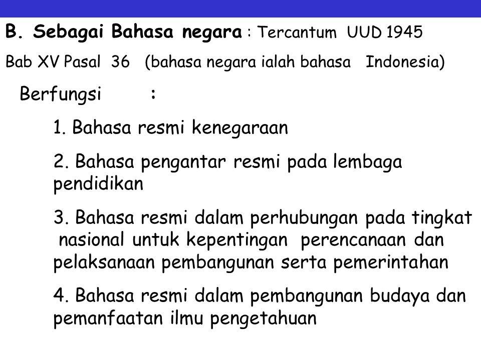 Fungsi dan kedudukan Bahasa Indonesia Sebagai Bahasa Nasional (Sejak Kongres Pemuda 28 Oktober 1928 Berfungsi : 1. Lambang kebanggaan nasional 2. Lamb