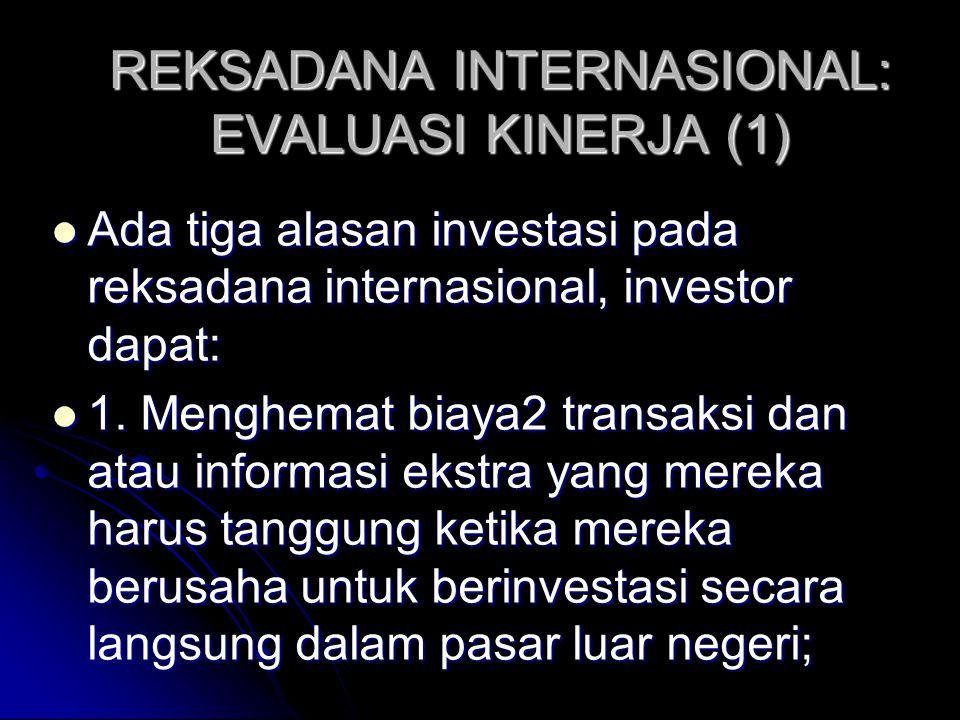 INVESTASI OBLIGASI INTERNASIONAL (4) Eun dan Resnick (1994): ketika risiko tukar dilindung nilai, portofolio obligasi cenderung mendominasi portofolio saham internasional dalam ketentuan efisiensi risiko-pengembalian.