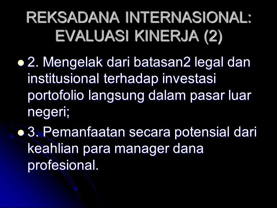 REKSADANA INTERNASIONAL: EVALUASI KINERJA (1) Ada tiga alasan investasi pada reksadana internasional, investor dapat: Ada tiga alasan investasi pada reksadana internasional, investor dapat: 1.