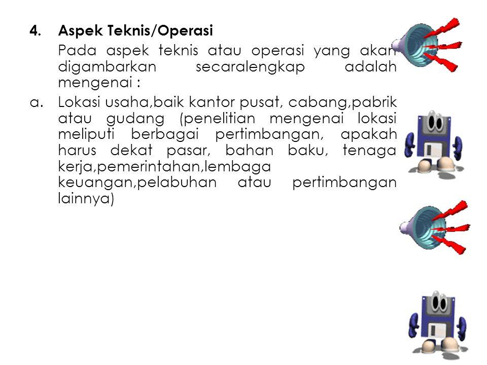 4.Aspek Teknis/Operasi Pada aspek teknis atau operasi yang akan digambarkan secaralengkap adalah mengenai : a.Lokasi usaha,baik kantor pusat, cabang,p
